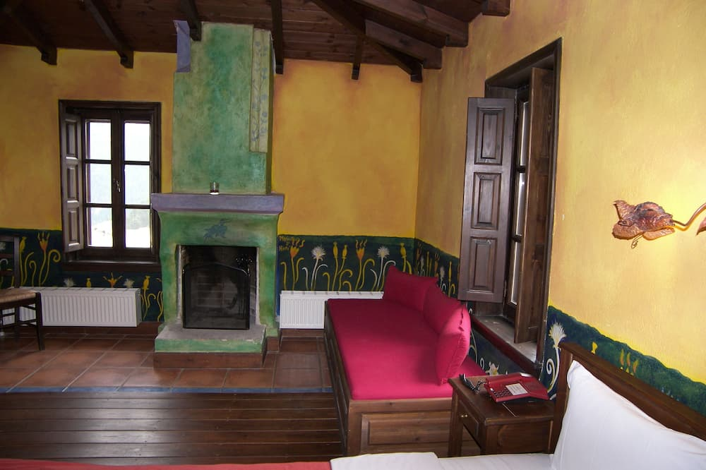 Double Room, Fireplace, Mountain View - Living Area