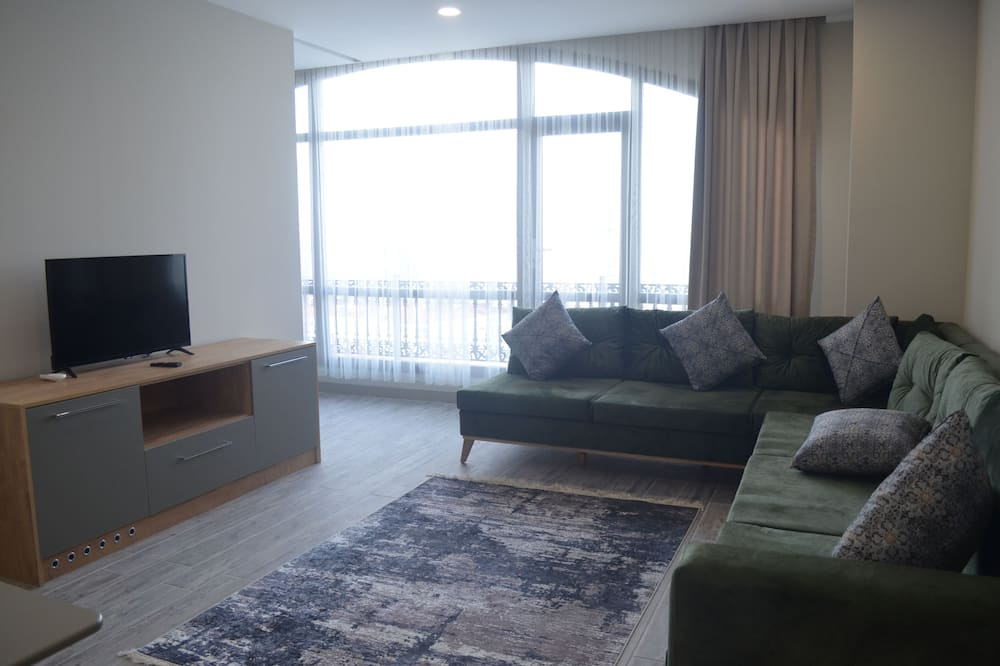 Premium Condo, 1 King Bed, Jetted Tub, City View - Living Room