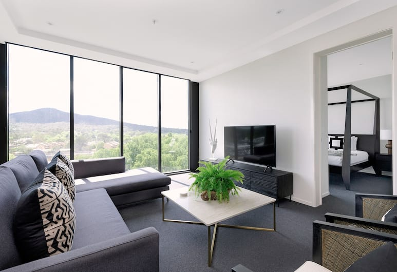 Birch Apartments, Canberra, Luxury Apartment, 2 Bedrooms, Mountain View (West Village), Living Room
