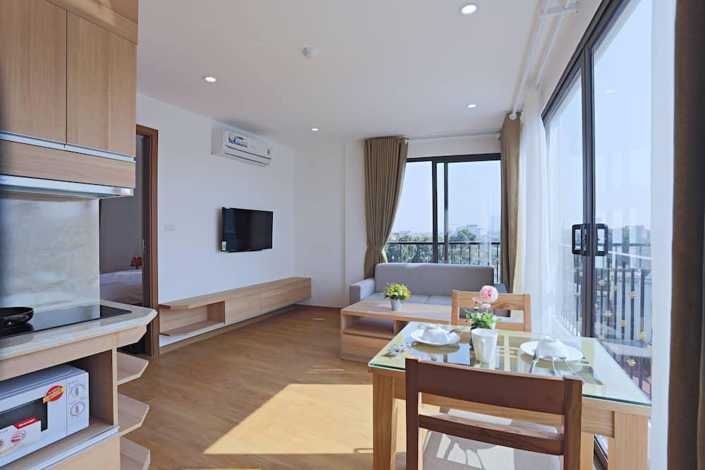 Deluxe-Apartment, 1 Queen-Bett, Seeblick, Seeseite - Wohnbereich