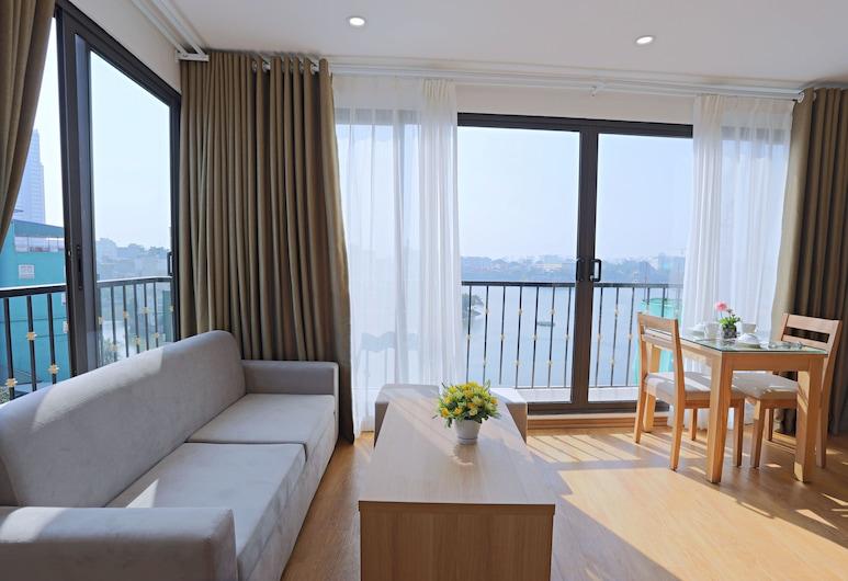 Nythome Truc Bach, Hanoi, Deluxe-Apartment, 1 Queen-Bett, Seeblick, Seeseite, Wohnbereich