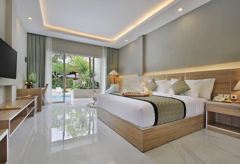 Tapa Tepi Kali by Pramana, Чангу, Номер «Делюкс», 1 двуспальная кровать «Кинг-сайз», вид на бассейн, Номер