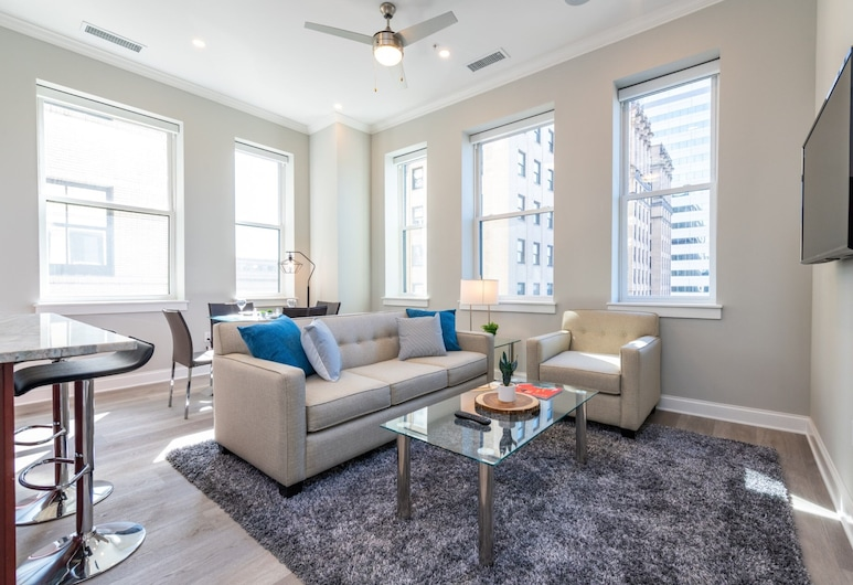 Global Luxury Suites Downtown Pittsburgh, Pittsburgh, Luxe appartement, 1 slaapkamer, Woonkamer