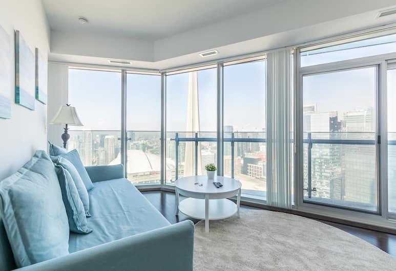 Simply Comfort. Gorgeous Apartments in the Heart of Toronto, Torontas, Prabangaus stiliaus apartamentai, 2 miegamieji, virtuvė, vaizdas į miestą, Svetainė