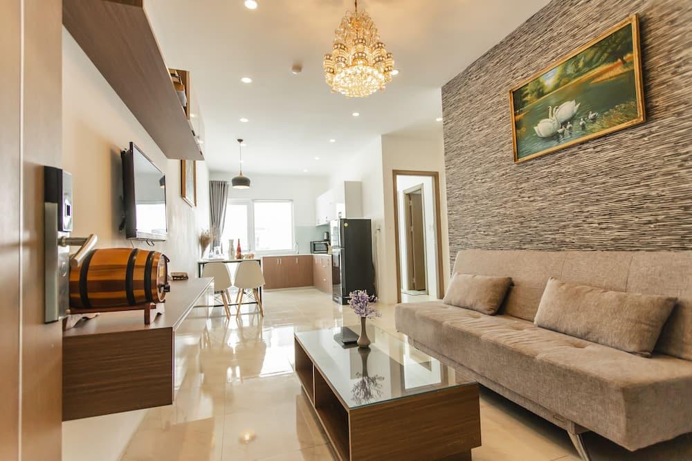 Exclusive Apartment, 2 Bedrooms, Partial Ocean View - Living Area