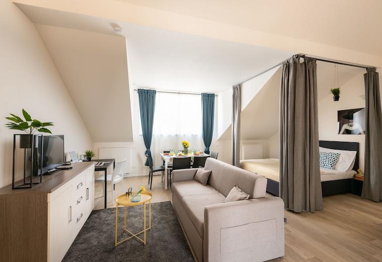 Wenzigova apartments, Prag, Superior-Apartment, Mehrere Betten, Terrasse (G), Zimmer