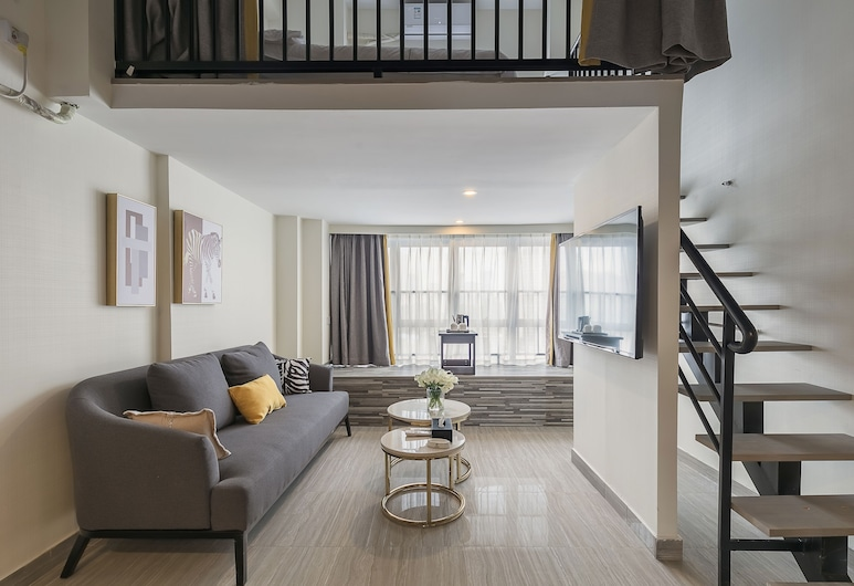 迎商公寓(廣州南站漢溪長隆地鐵站店), 廣州市, 複式雙床房, 客廳