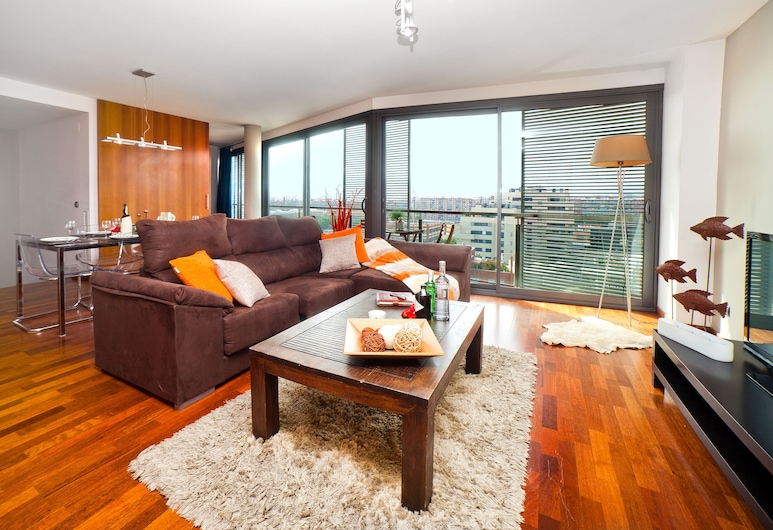 Victoria Diagonal Mar, Barcelone, Appartement Luxe, 4 chambres (1), Coin séjour