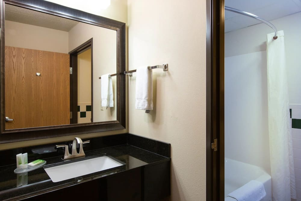 Chambre, 1 très grand lit, accessible aux personnes à mobilité réduite, baignoire à jets - Salle de bain