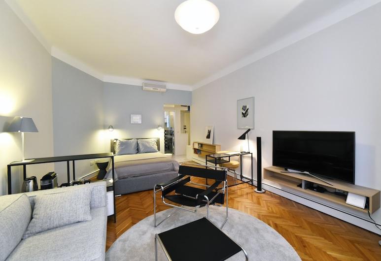 Apartment Bauhaus, Zagreb, Appartement, 1 slaapkamer, Uitzicht op de stad, Woonkamer