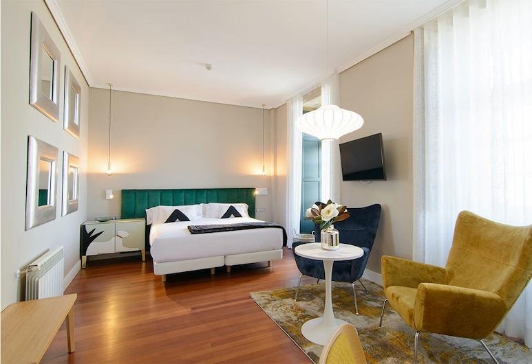Hotel Pazo de Mendoza, Baiona, Deluxe szoba kétszemélyes ággyal, kilátással a tengerre, Nappali rész