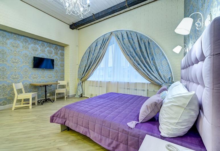 Guest rooms at Chaykovskogo 22, סנט פטרסבורג, סוויטת סטודיו אקסקלוסיבית, חדר שינה אחד, מטבחון, נוף לעיר, חדר אורחים