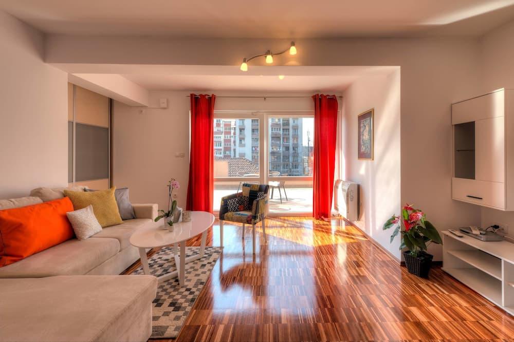 Luxusní apartmán, 1 ložnice, terasa, v zahradě - Obývací prostor