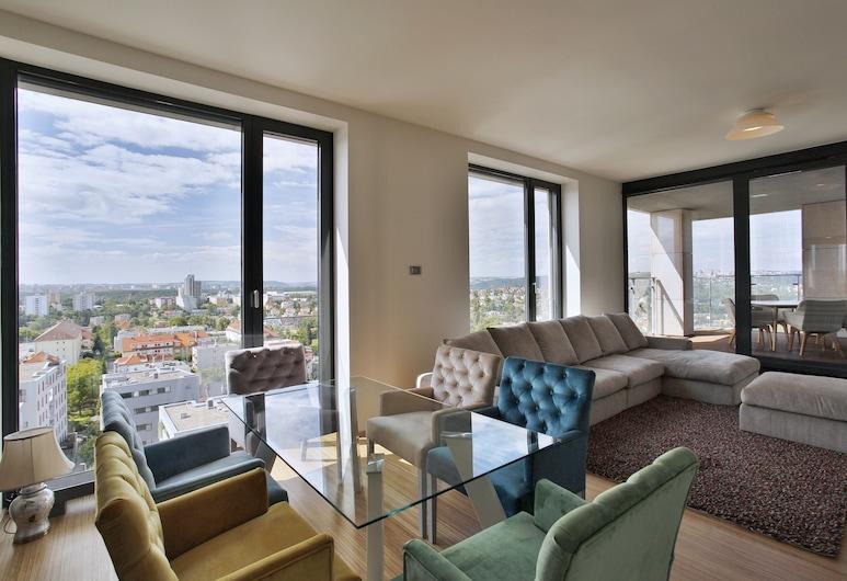 Apartment Rezidence Kavčí Hory, Praga, Apartamento superluxo, 3 quartos, Vista para a cidade, Sala