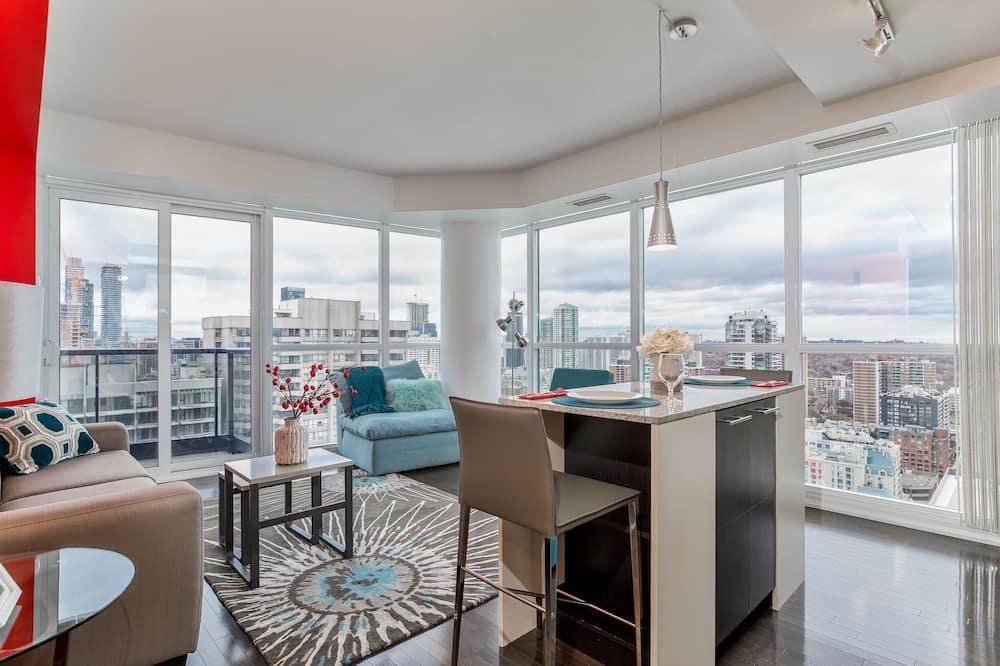 Lägenhet City - 1 sovrum - kök - utsikt mot staden - Vardagsrum