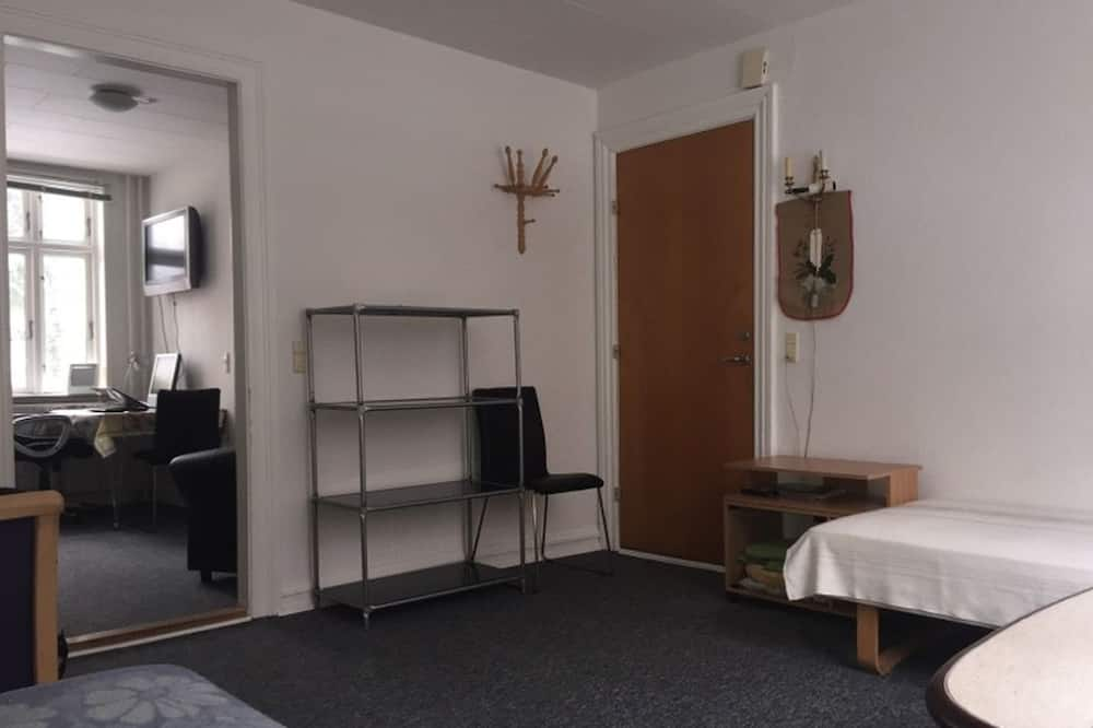 Apartamento Cidade, 1 Quarto, Vista Rio, Jardim - Área de Estar