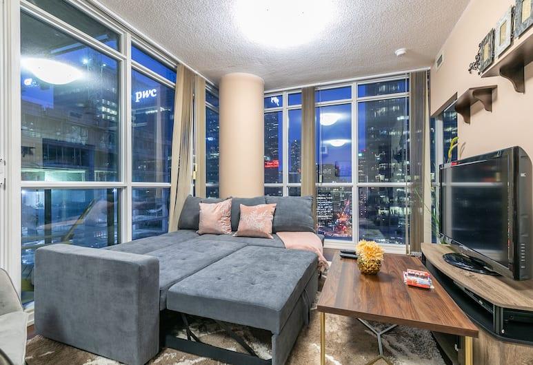 Simply Comfort. Maple Leaf Square, Toronto, Luxe appartement, 2 slaapkamers, keuken, Uitzicht op de stad, Woonruimte