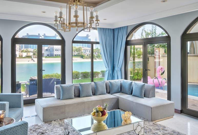 Dream Inn Dubai-Luxury Palm Beach Villa, Dubajus, Vila, vaizdas į valčių prieplauką, Vaizdas į paplūdimį, Svetainė