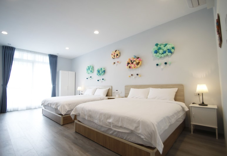 台南民宿 瑪琪雅朵, 台南市, 家庭四人房, 多張床, 陽台, 花園, 客房