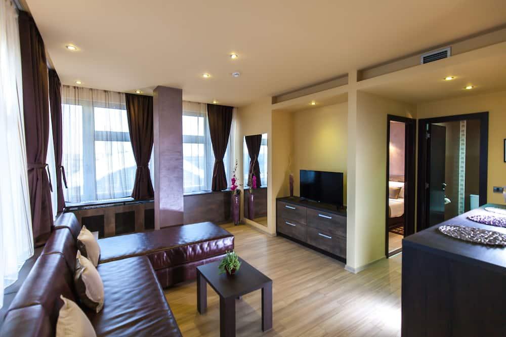 Apartment, 1Queen-Bett und Schlafsofa, Stadtblick - Wohnbereich