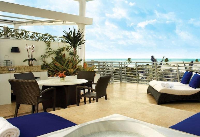 SoBe Ocean Drive Suites, Miami Beach, Ateliérový apartmán s panoramatickým výhľadom, 1 extra veľké dvojlôžko, terasa, výhľad na pláž, Terasa