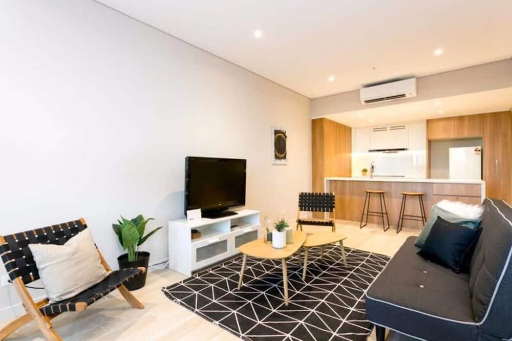 Deluxe appartement, 2 slaapkamers, Uitzicht op rivier, Aan zee - Woonruimte