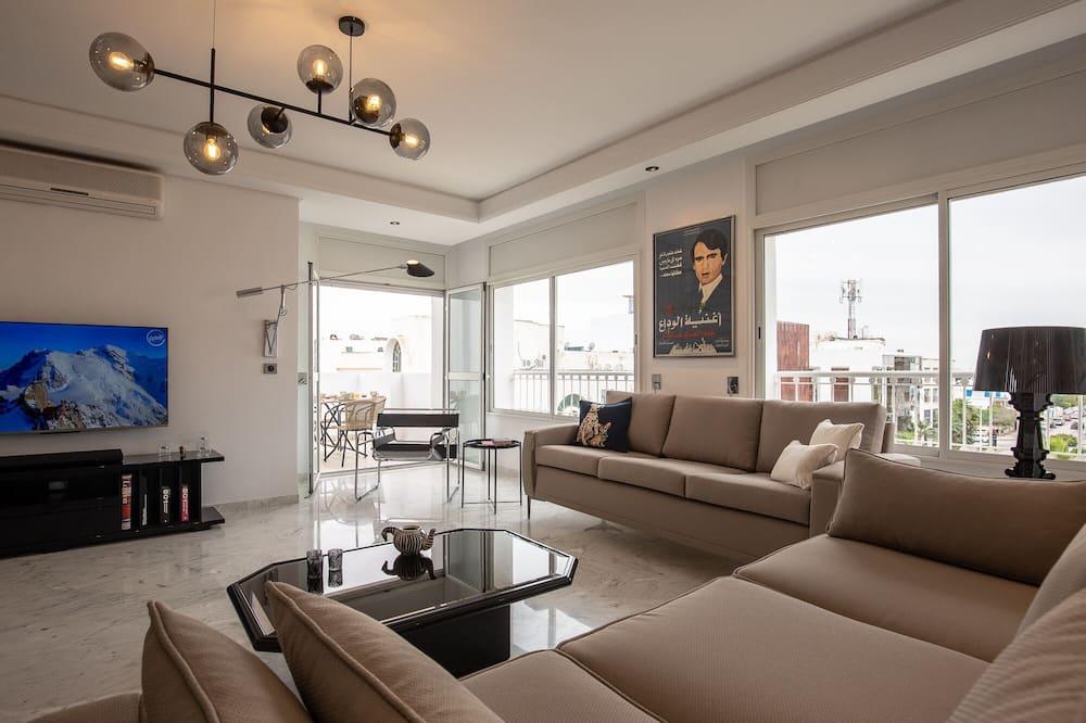 Luxus apartman, 3 hálószobával, nemdohányzó, tó felőli - Nappali rész