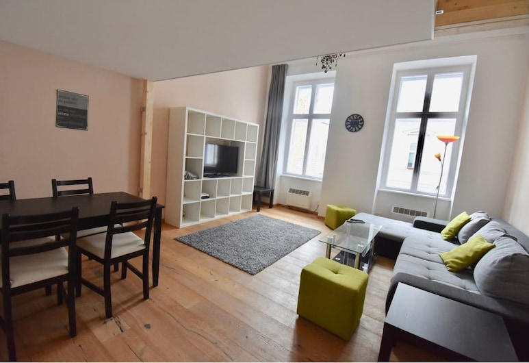 Apartment Bank Austria Campus, Wenen, Superior appartement (incl. end cleaning fee), Woonkamer