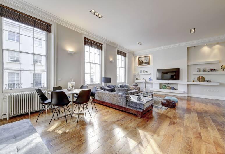 Luxury flat & terrace Hyde Park Stables, Londýn, Luxusní apartmán, 2 ložnice, výhled na město, Obývací pokoj