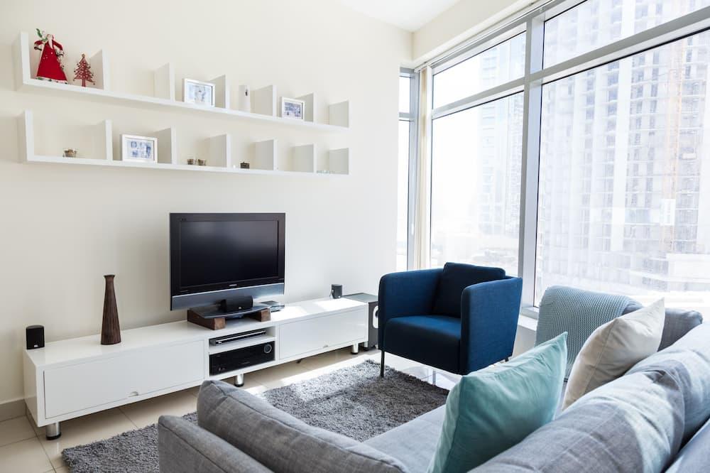 時尚公寓, 1 張特大雙人床, 城市景, 向海 - 客廳