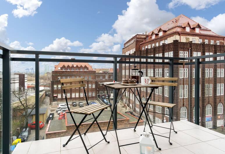 Elite Apartments Cityview Center, Gdansk, Leilighet – superior, 1 soverom, balkong, utsikt mot bakgård, Rom