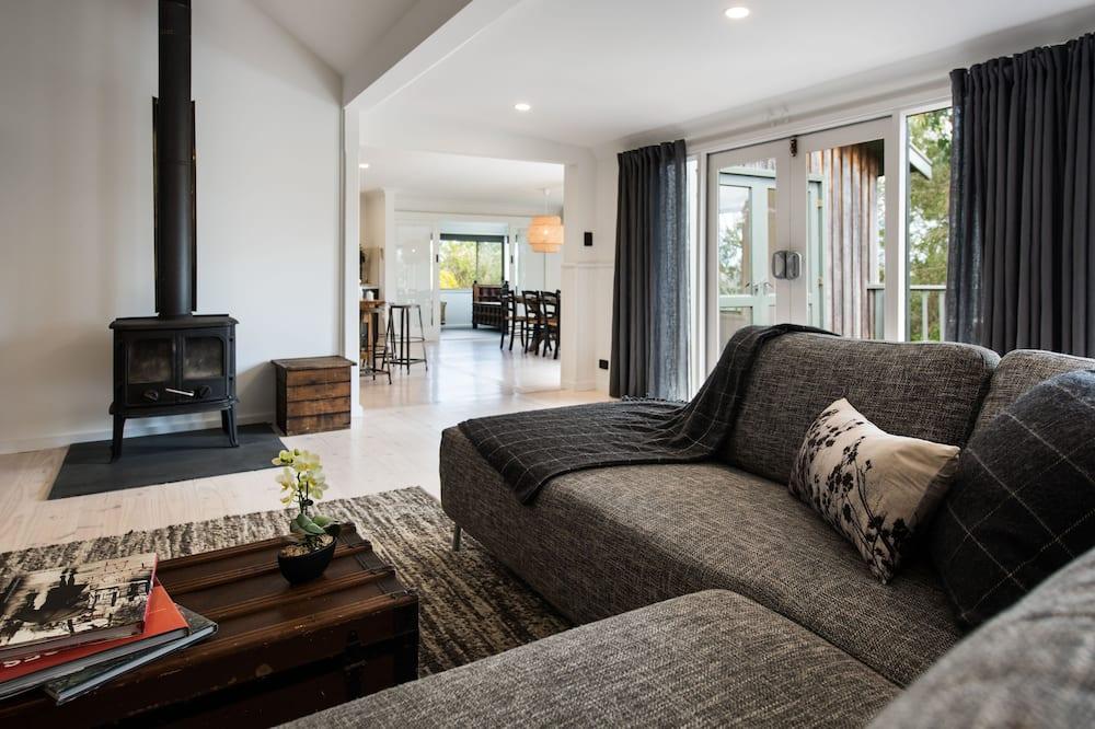 Ferienhaus, Mehrere Betten, Gartenblick - Wohnzimmer
