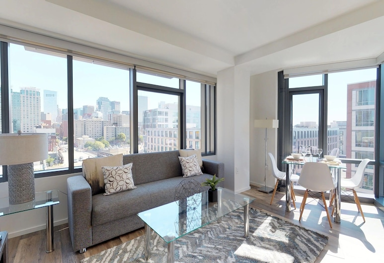 Global Luxury Suites in South End, Boston, Luxe appartement, 2 slaapkamers, Woonkamer