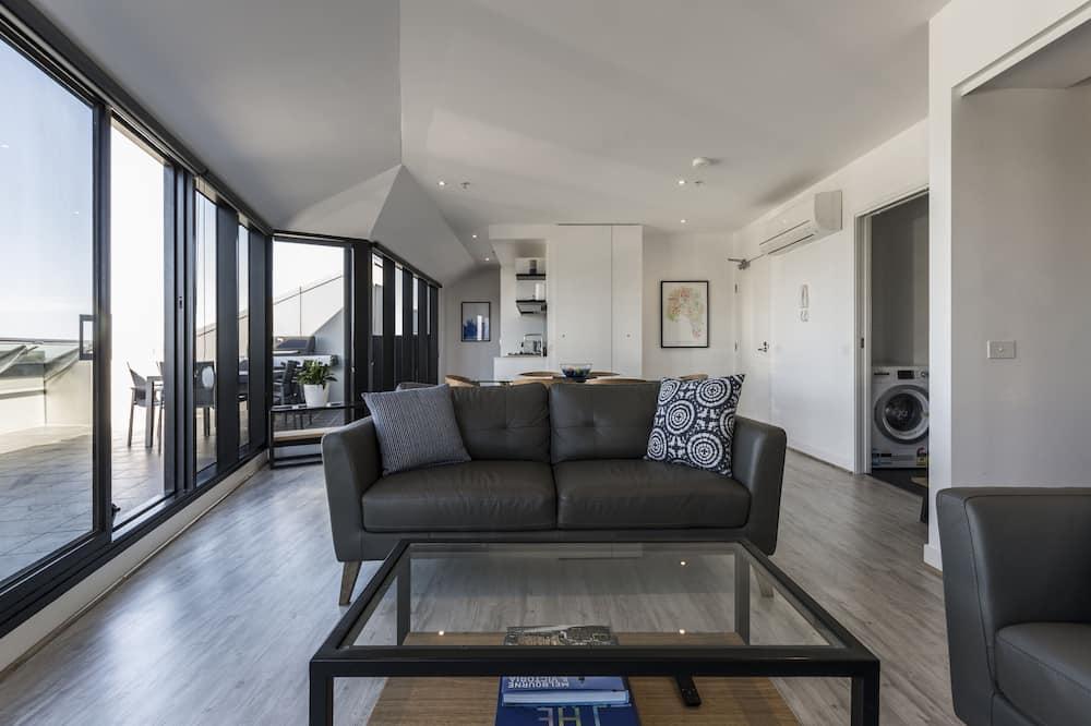 Penthouse Panoramique, 2 chambres, terrasse, vue ville - Coin séjour
