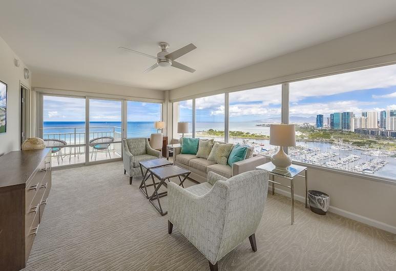 Ilikai by Luana Hawaii Vacation Rentals, Honolulu, Comfort-rum - flera sängar - havsutsikt - vid stranden (24262343), Vardagsrum