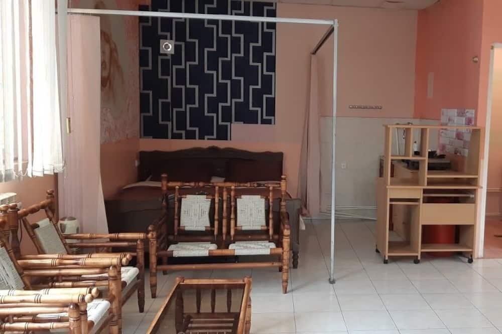 Gazdaságos szoba kétszemélyes vagy két külön ággyal, kilátással a kertre, kerti - Nappali rész
