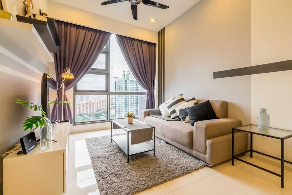 City-Apartment, 2Queen-Betten - Wohnzimmer