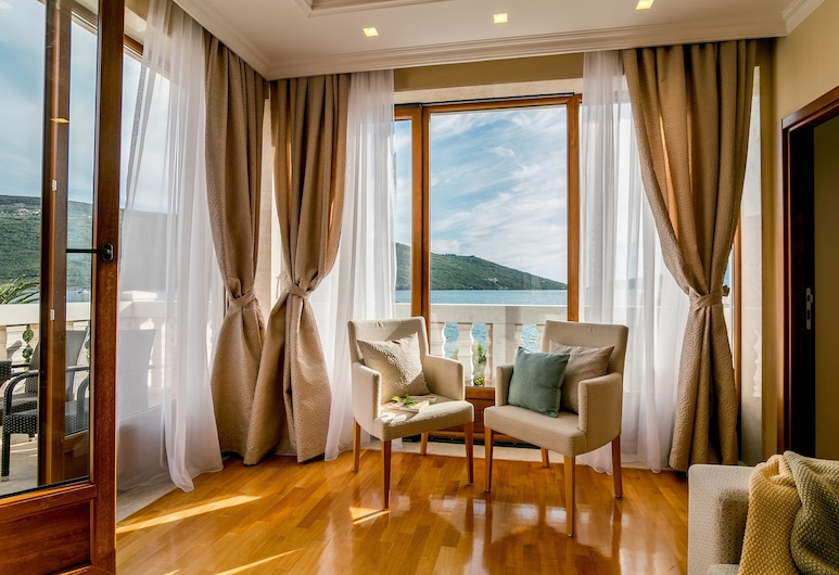 Hedera Residences, Kumbor, Deluxe-lejlighed - havudsigt, Stue