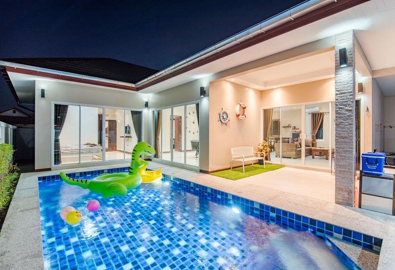 Green View Pool Cha-am15, Prachuap Khiri Khan, Three Bedrooms - Private Pool Villa, Αίθριο/βεράντα
