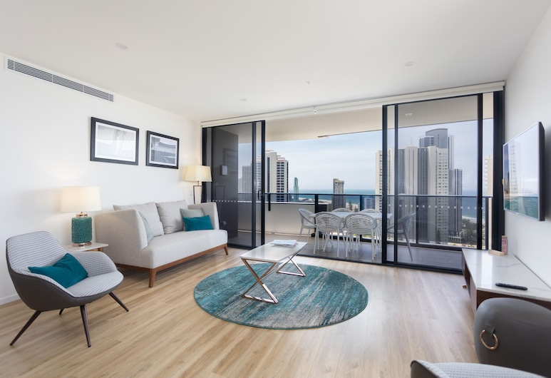 Arise Ruby Gold Coast, Surfers Paradise, Three Bedrooms Apartment, Living Area