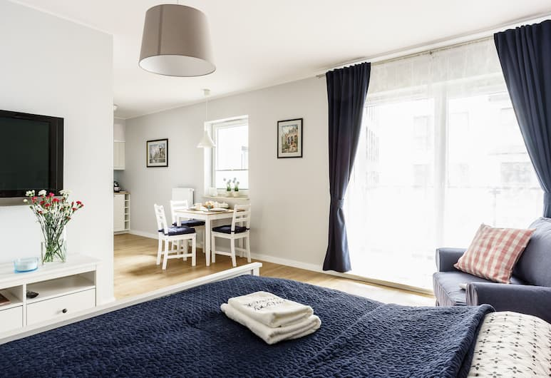 Marinus Apartments, Gdansk, Studio Comfort, balkon, Kamar