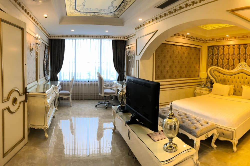 Dvojlôžková izba typu Executive, 1 extra veľké dvojlôžko, výhľad na mesto - Obývačka