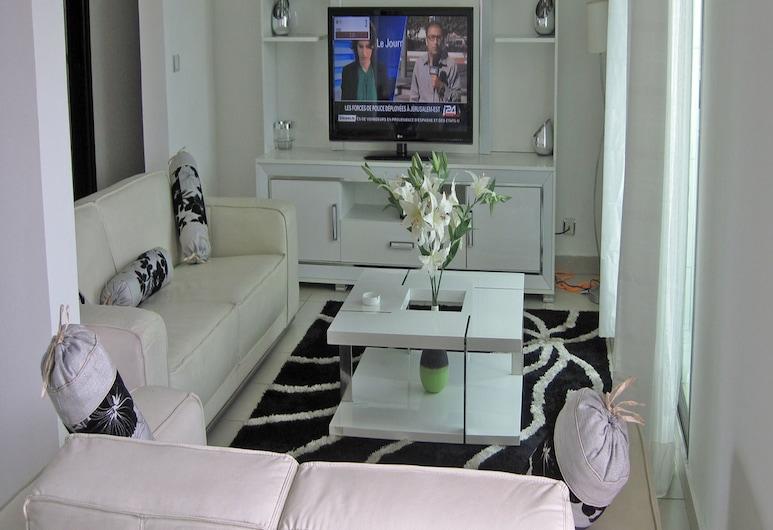 Résidence Emeraude, Abidjan, Comfort-lejlighed - 3 soveværelser - balkon - byudsigt, Opholdsområde