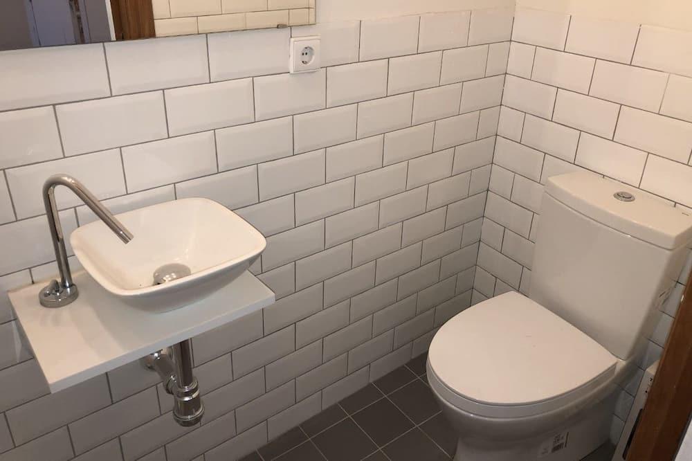 Kambarys (1 dvigulė / 2 viengulės lovos) su pagr. patogumais - Vonios kambarys