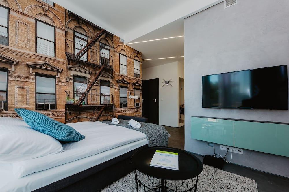 Išskirtinio tipo apartamentai, 2 miegamieji, terasa, vaizdas į miestą - Svetainė