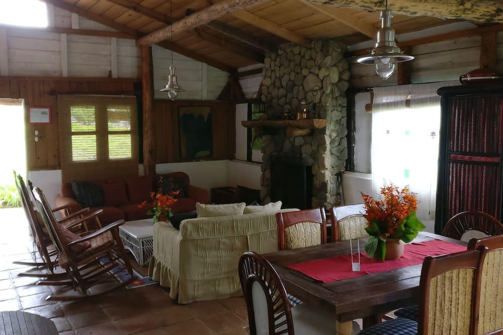 Семейный домик, 3 спальни, камин, на горном склоне - Зона гостиной