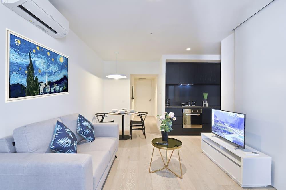 Dizajnový apartmán, 1 veľké dvojlôžko s rozkladacou sedačkou - Obývačka