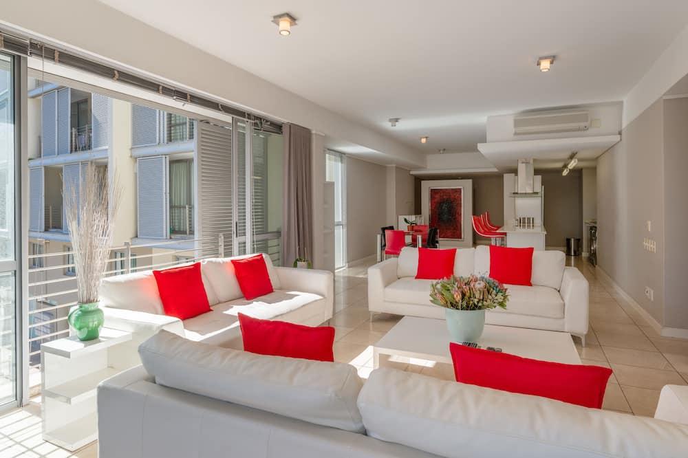 Condominio Premium, 2 habitaciones, balcón, vista al puerto - Sala de estar