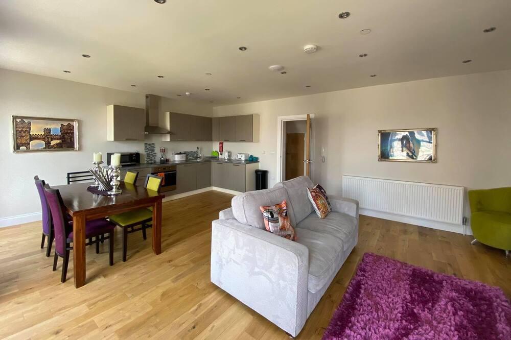 Prémium apartman, 1 kétszemélyes ágy és egy kihúzható kanapé - Nappali rész