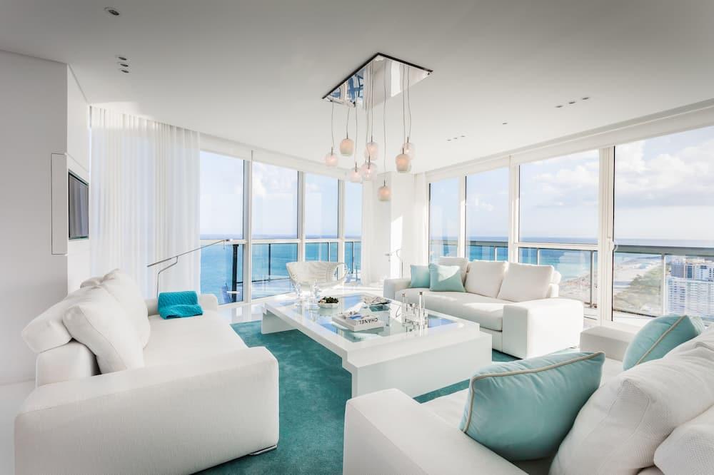 Панорамные апартаменты, 3 спальни, для людей с ограниченными возможностями, вид на океан - Гостиная